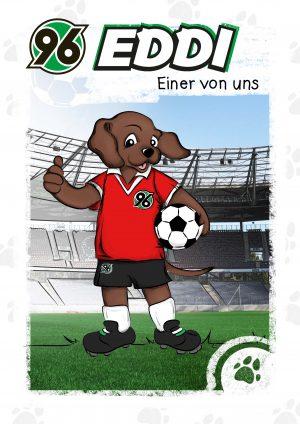 Illustration Buchcover EDDi - einer von uns. Das Maskottchen iddi steht auf dem Spielfeld und hält einen Fußball unterm Arm.