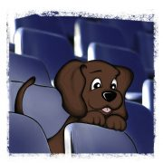 Illustration EDDi als Welpe im Stadion zwischen den Stühlen