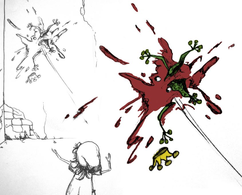 Illustration Charakterentwurf FRIDA wirft den Froschkönig an die Wand