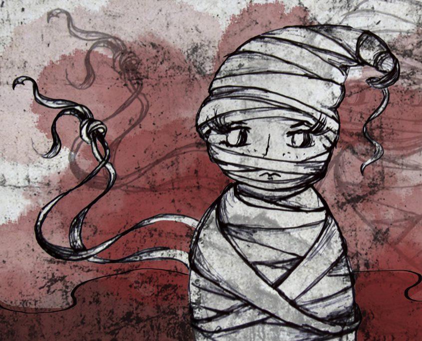 Illustration Charakterentwurf FRIDA ist eingewickelt und gefangen