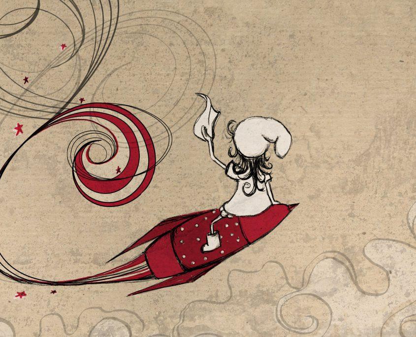 Illustration Charakterentwurf FRIDA fliegt auf einer Rakete und winkt mit einem Taschentuch
