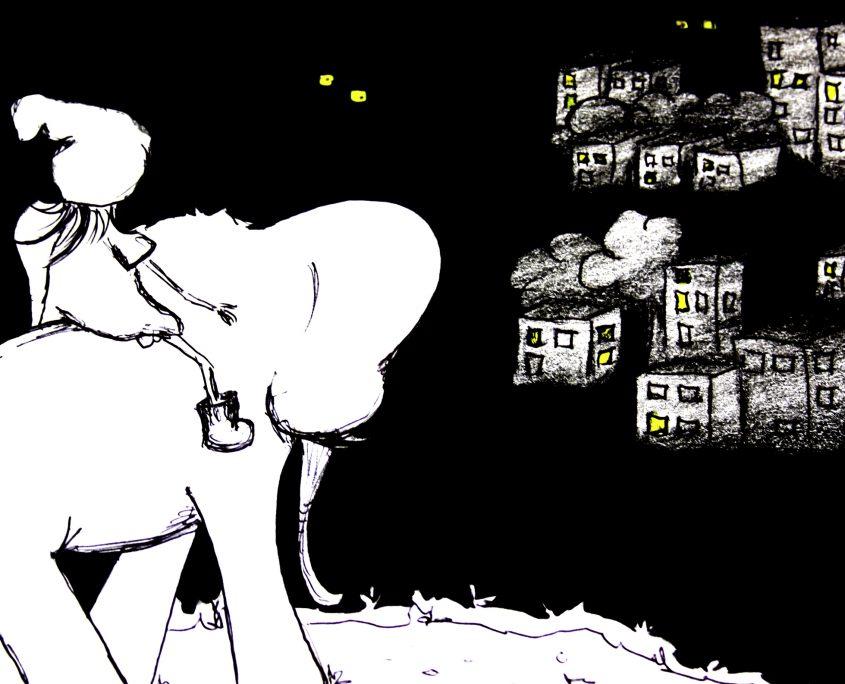 Illustration Charakterentwurf FRIDA reitet auf einem Elefanten an einen neuen Ort