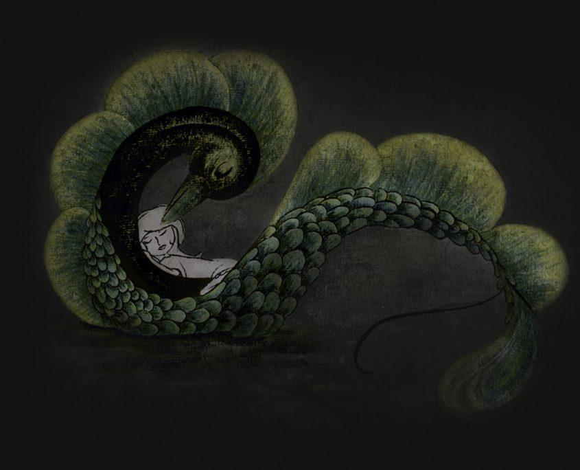Illustration Charakterentwurf FRIDA schläft in einem Fabelwesen aus Fisch und Vogel
