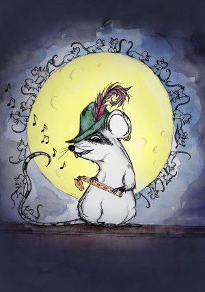 Illustration Buchcover die Rattinos, Verwegene Ratte aus Hameln sitzt im Mondschein auf einer Mauer und läßt seine Untertanen um den Mond tanzen.