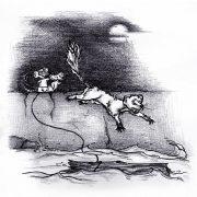 Illustration Kinderbuch Rattinos. Zwei Ratten jagen einen Moder in die Flucht.