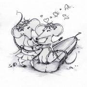 Illustration Kinderbuch Rattinos. Zwei verliebte Ratten sitzen in einer Zucchini.