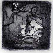 Illustration Kinderbuch Rattinos. Eine unterirdische Pommes-Pipeline, die mit einer Spielzeugeisenbahn abtransportiert werden.