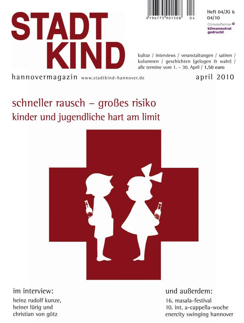Titelbild Magazin Stadtkind Hannover - schneller rausch - großes Risiko. Rotes Kreuz mit einem Jungen und Mädchen, die Alkohol hinter ihrem Rücken verstecken.
