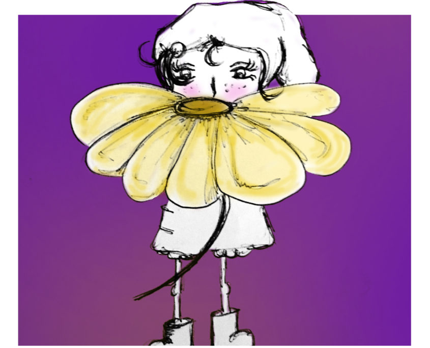 Illustration Charakter FRIDA mit Blume
