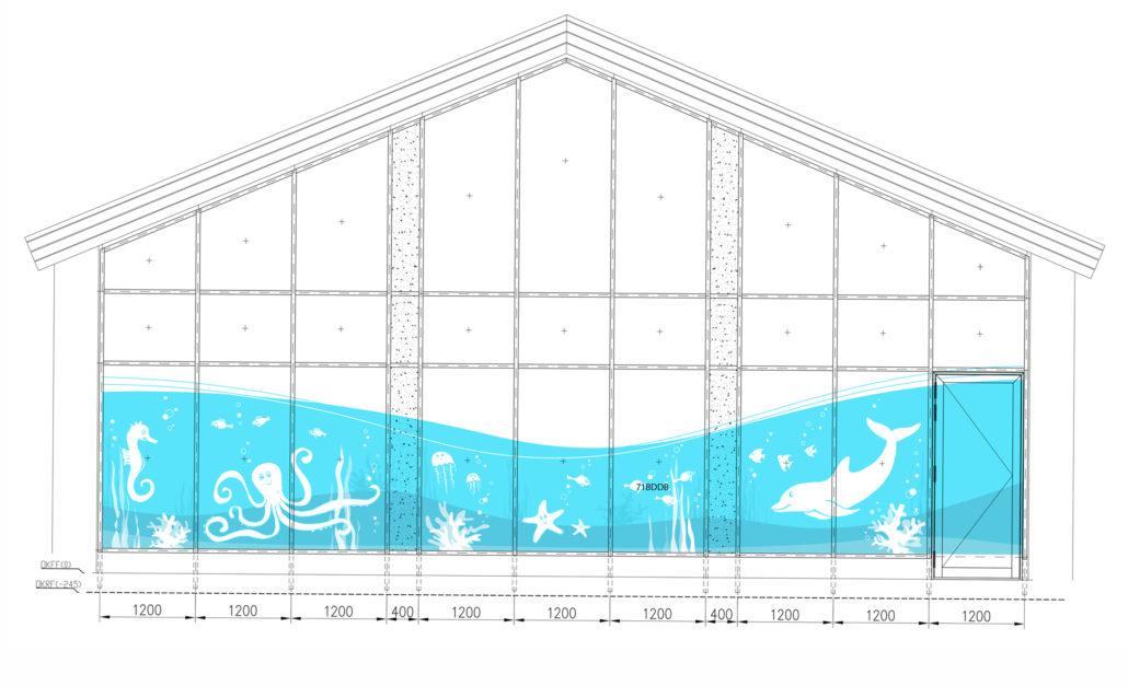 Illustration für ein Schwimmbad mit Kindertherapie