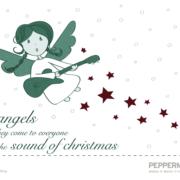 Illustration Weihnachtskarte fliegender Engel mit Gitarre